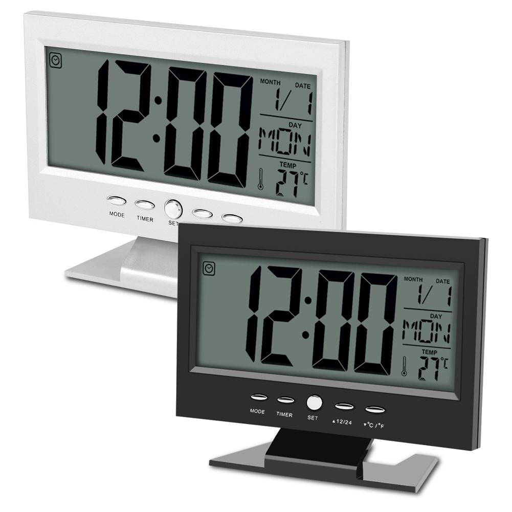 24 Timer Sound details about electric lcd digital sound sensor table desk alarm clock  calendar temp display c