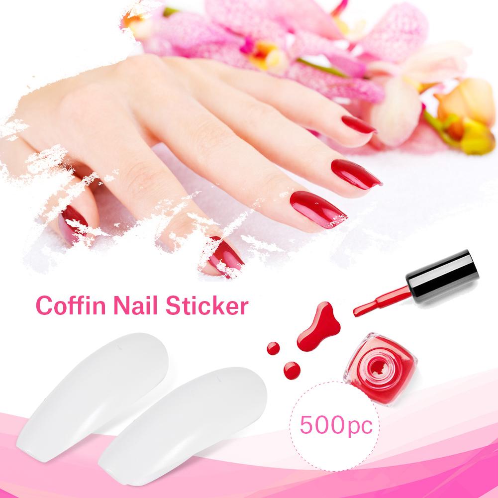 600x Nails Full Cover False Long Ballerina Nail Art Tips Acrylic UV ...