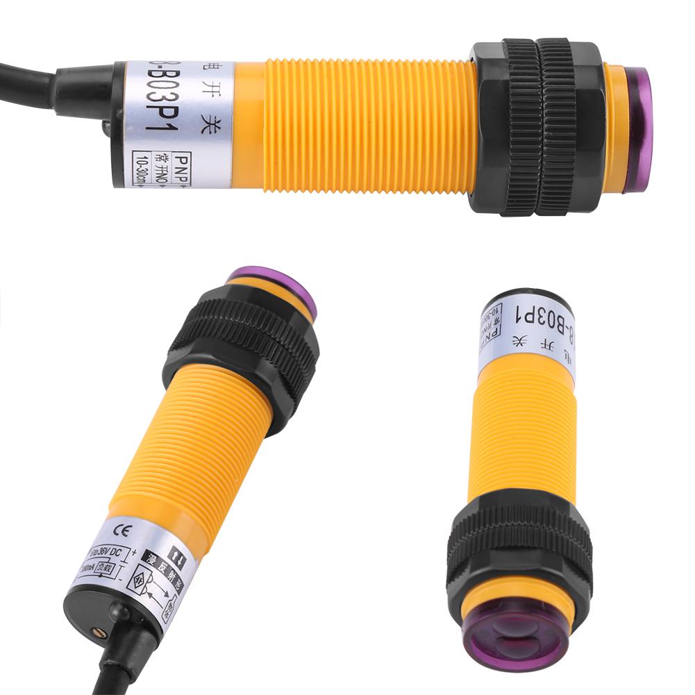 Dingln E18-B03P1 5-30cm Interruttore DC 3 Fili PNP 6-36V Sensore Fotoelettrico IR