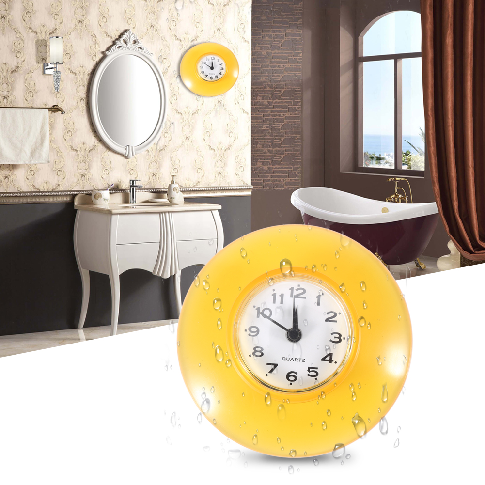 Round Small Wall Clock Suction Cup Quartz Clock Waterproof Home ...
