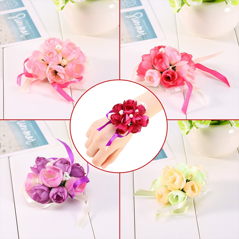 Hot Wrist Corsage Bracelet Sisters Bridesmaid Hand Flowers Wedding ...