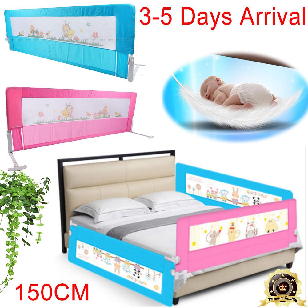 Blue Pink 150cm Folding Child Toddler Bed Rail Safety Protection Guard UK