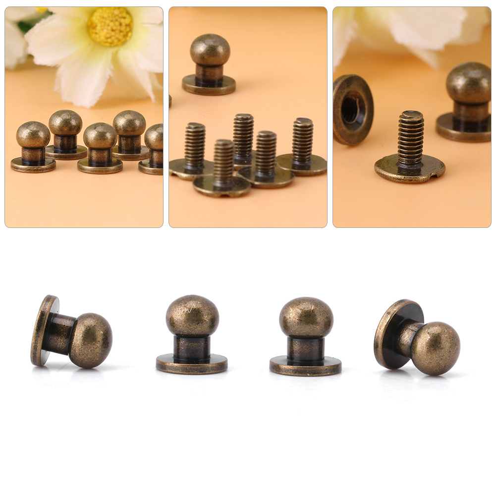 Nail Buttons: Set Of 20x Round Head Screw Stud Brass Button Nail Rivet