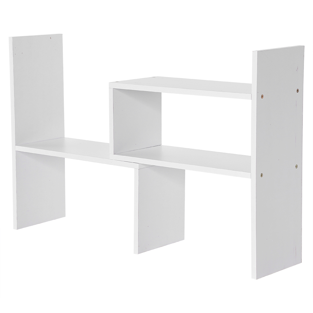 DIY Bookshelf Holder Desk Organizer Rack Storage Unit Bookcase White Color