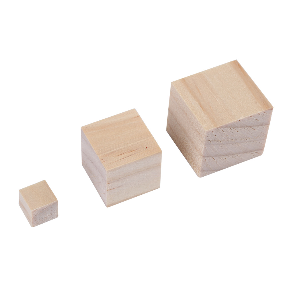 10 25 25mm Wooden Square Blocks Cubes Embellishment For