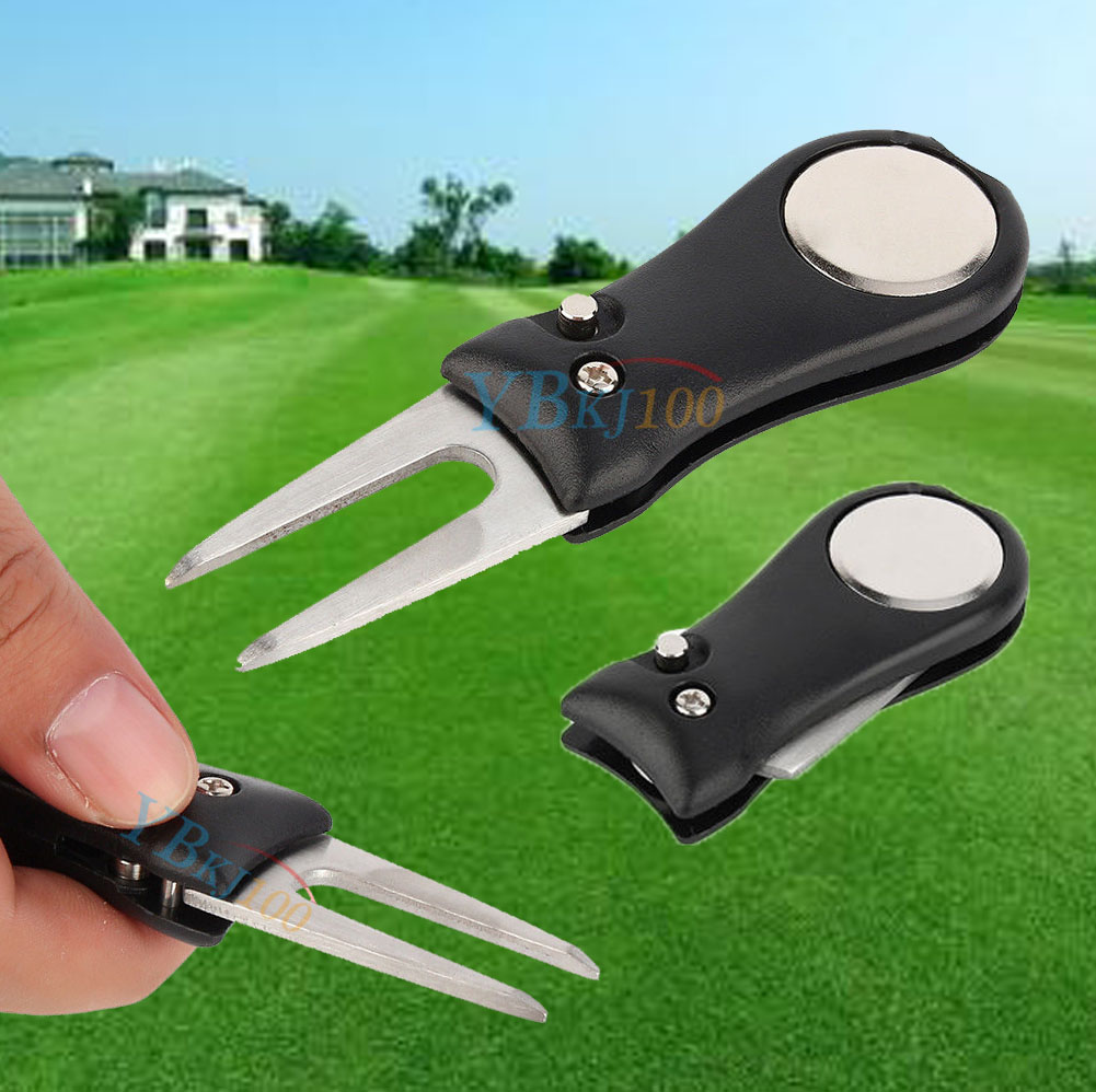 Details about Black Pitch Repair Divot Switchblade Golf Ball Marker Mark Kit Groove Cleaner
