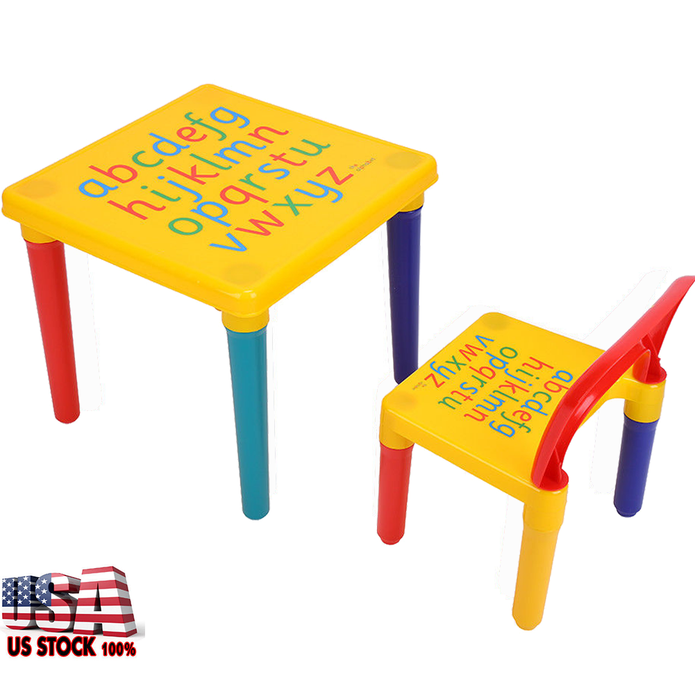 Kids Baby Table Chair Set Children Play Letter Education Learning ...