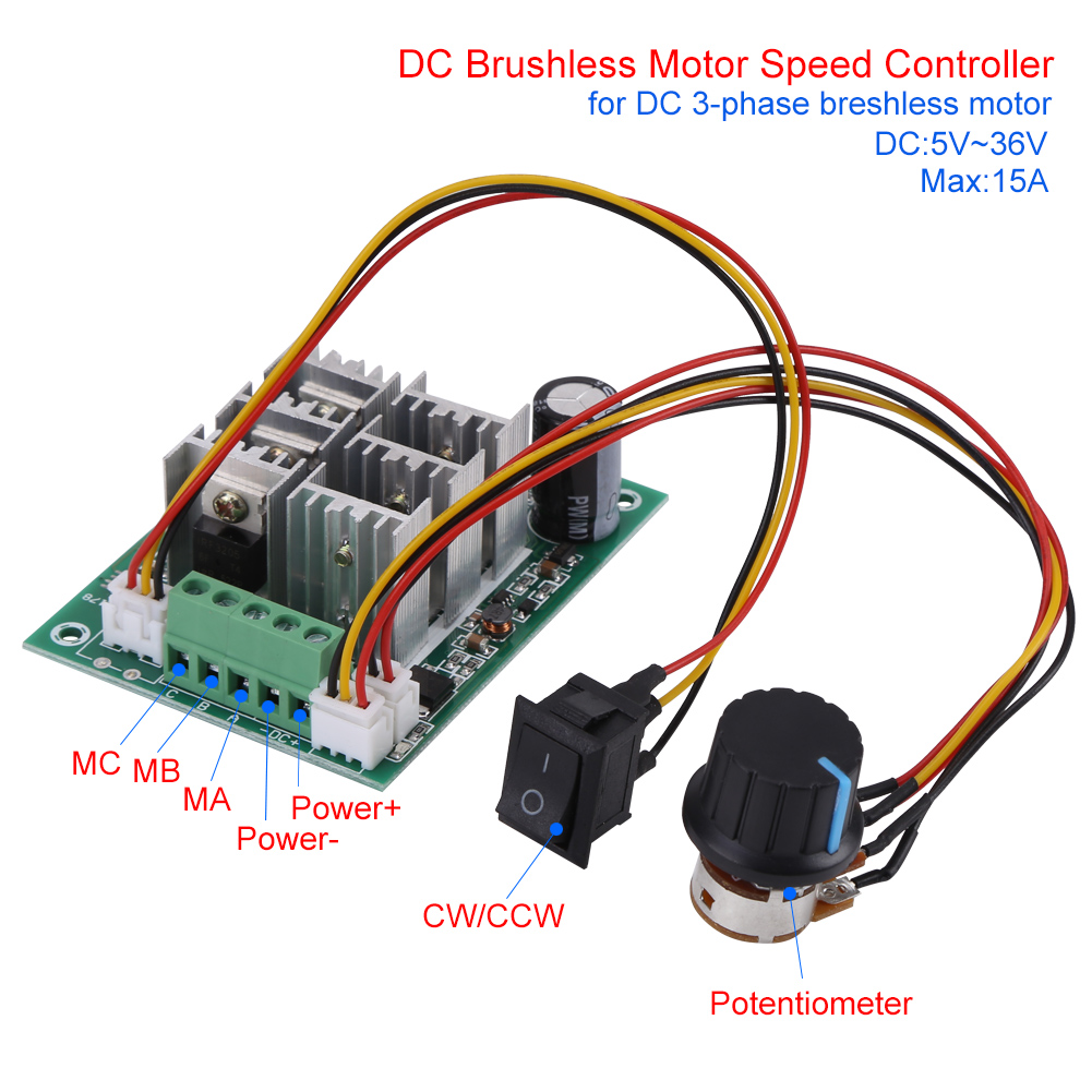 DC 5V-36V 15A 3-Phase Brushless Motor Speed Control CW CCW ...