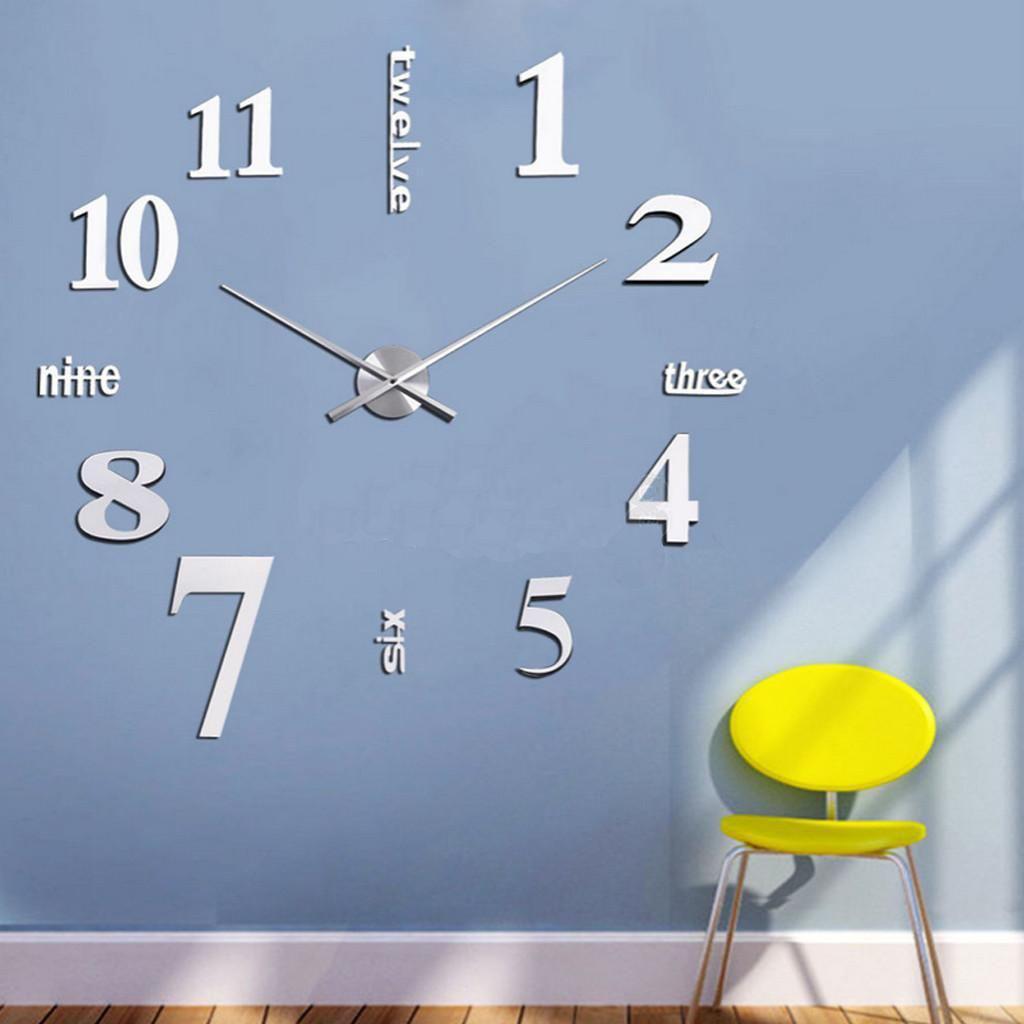 Great Wand Uhr Wohnzimmer Wanduhr Wandtattoo Aufkleber Deko XXL 3D Design Neu  Silbern