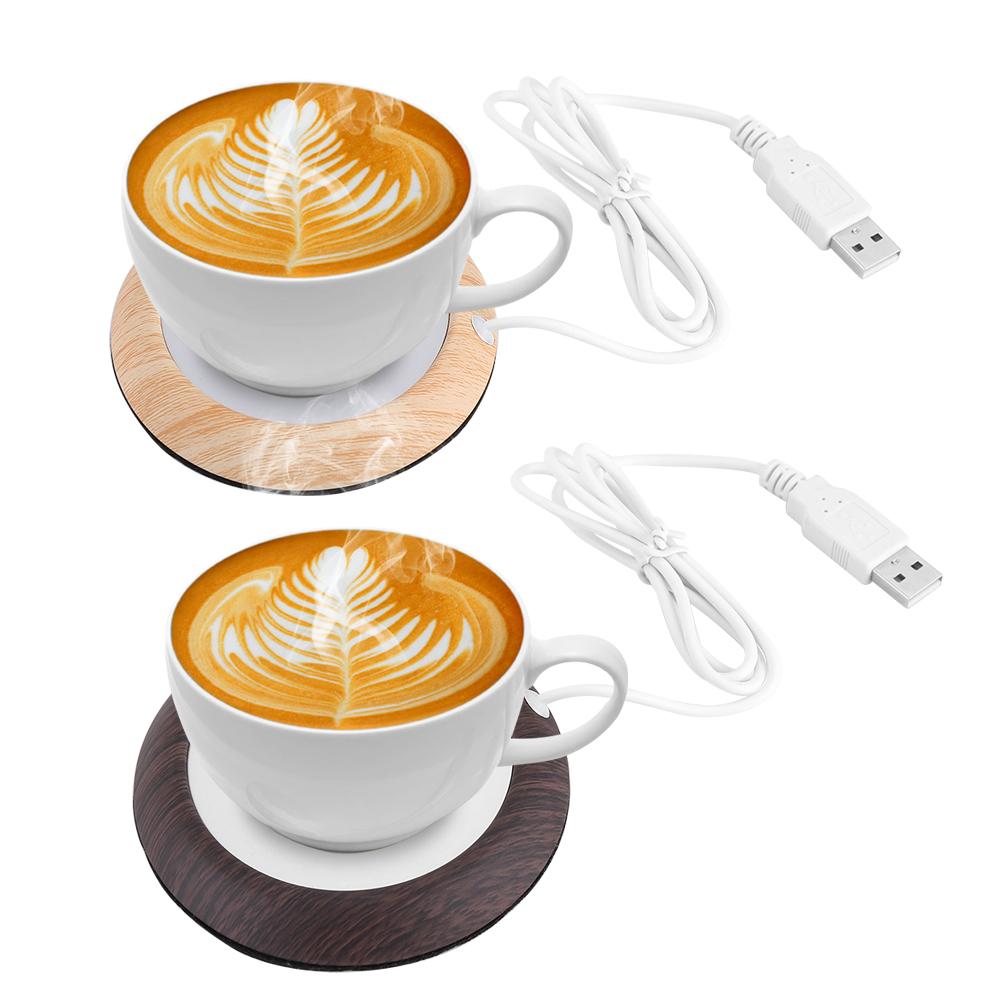 Wood Grain Usb Heat Heater Milk Tea Coffee Mug Warmer Home