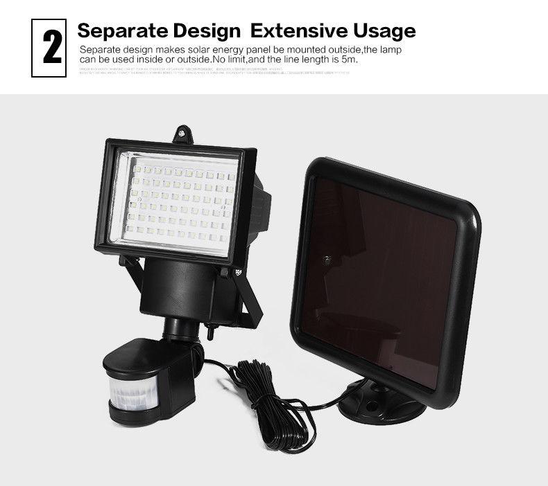 60 LED Solarleuchte Solar Flutlicht Bewegungsmelder Lampe Wandleuchte PIR-Sensor