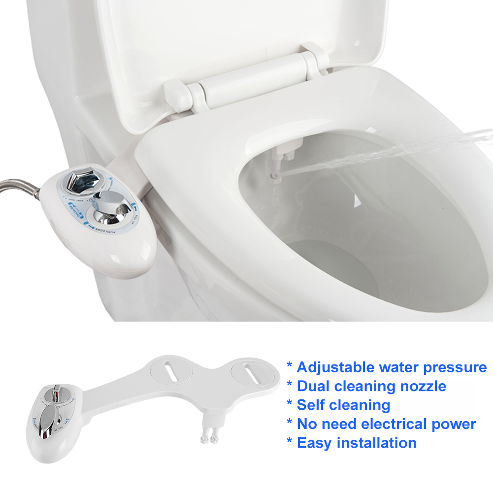 Non Electric Adjustable Angle Fresh Water Bidet Toilet Seat Attachment New