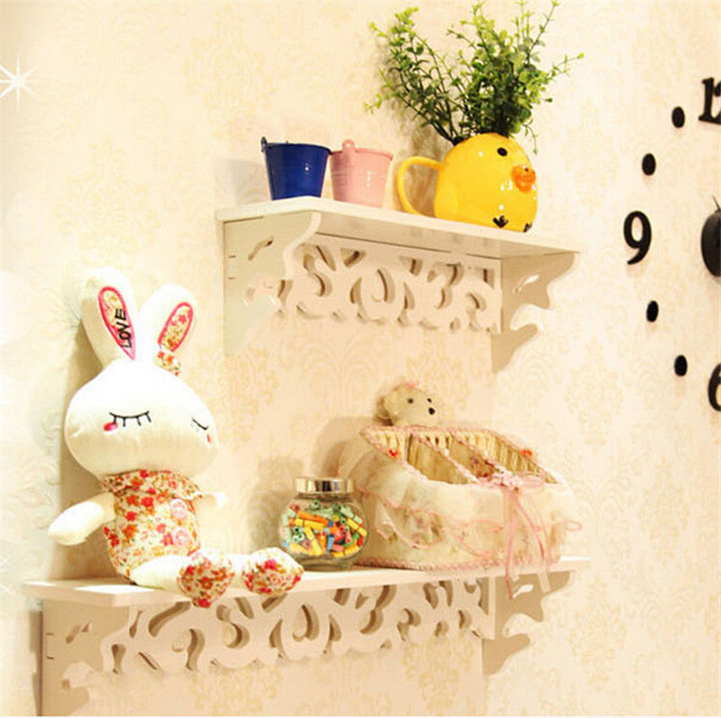 Details about White Wood Home Decorative Wall Shelf Set Display Floating Shelves Wood Storage