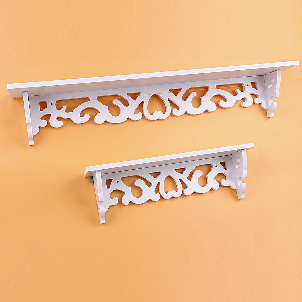 White Wood Home Decorative Wall Shelf Set Display Floating Shelves ...