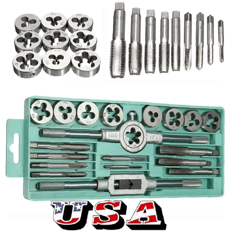 20pc M3-M12 Mini Tap and Die Set Metric Wrench Threading Tool of Slloy Steel