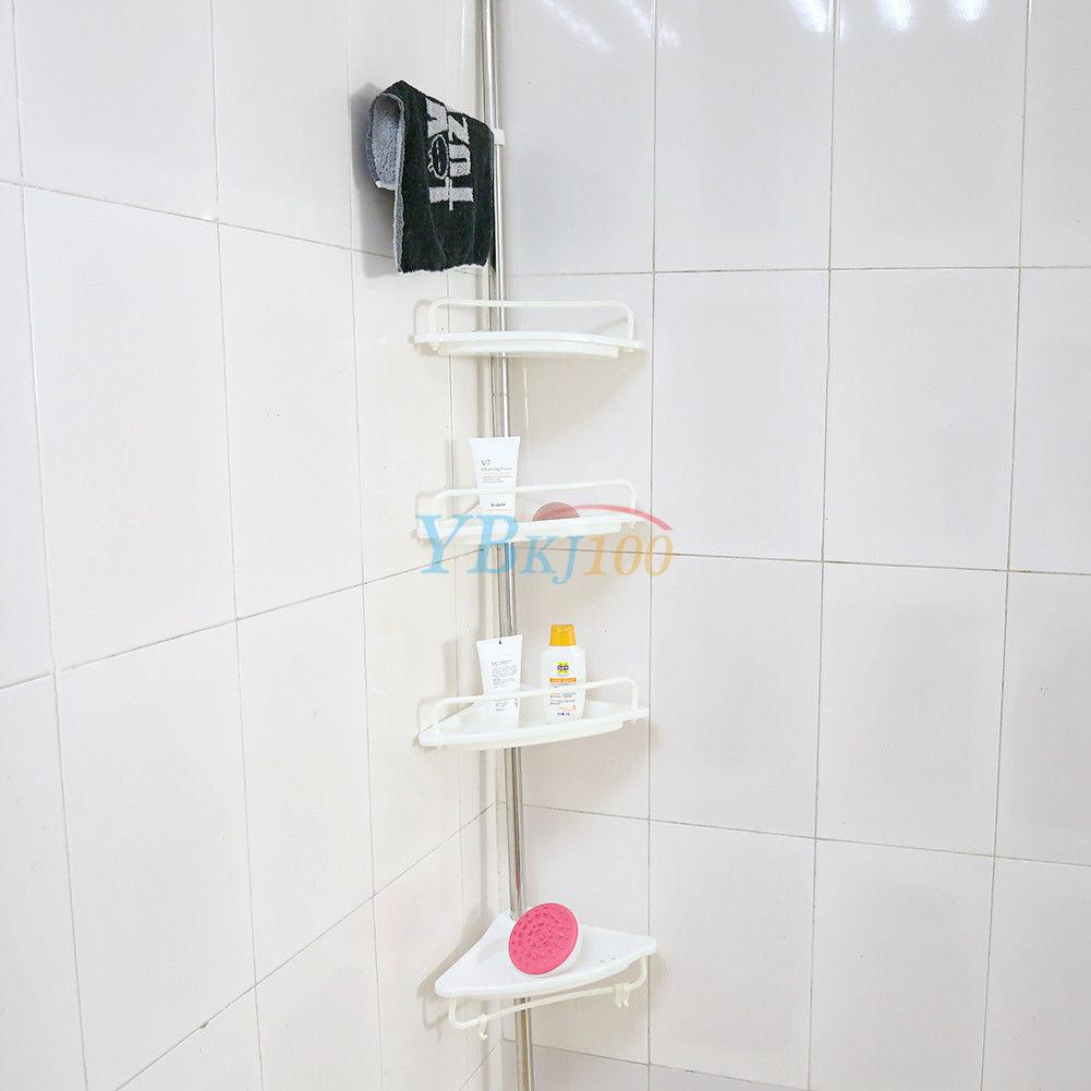 shower corner shelf chrome caddy bathroom shelves organiser bath storage 4 rack 736691391829 ebay. Black Bedroom Furniture Sets. Home Design Ideas