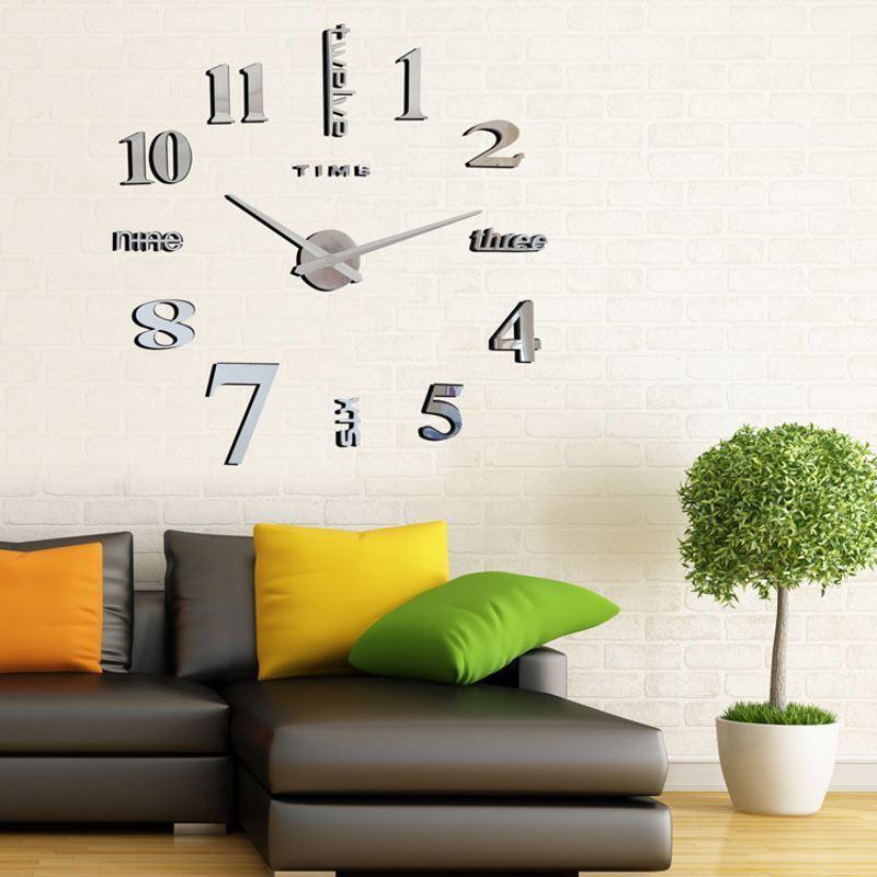 wand uhr wohnzimmer wanduhr wandtattoo aufkleber deko xxl 3d design neu silbern 600346206885 ebay. Black Bedroom Furniture Sets. Home Design Ideas