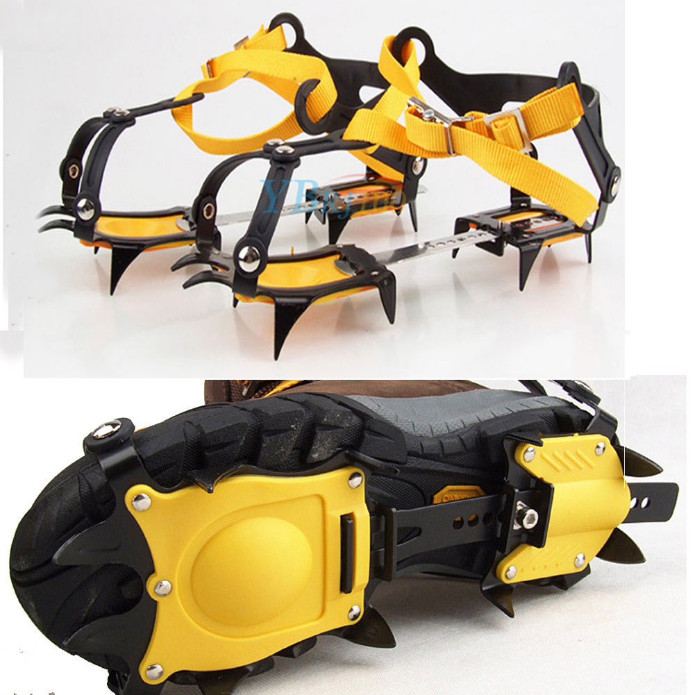 Anti Slip Mountain Walking Spikes Ice Snow Grips Crampons Clips to Shoes Boots !