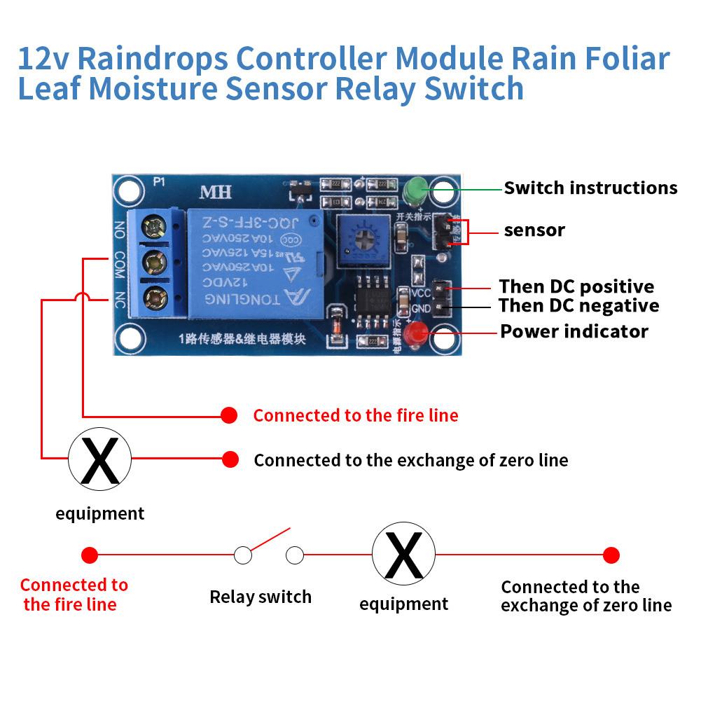 Dc 12v Rain Sensor Module Relay Control Sensitivity Weather Electric Product Description