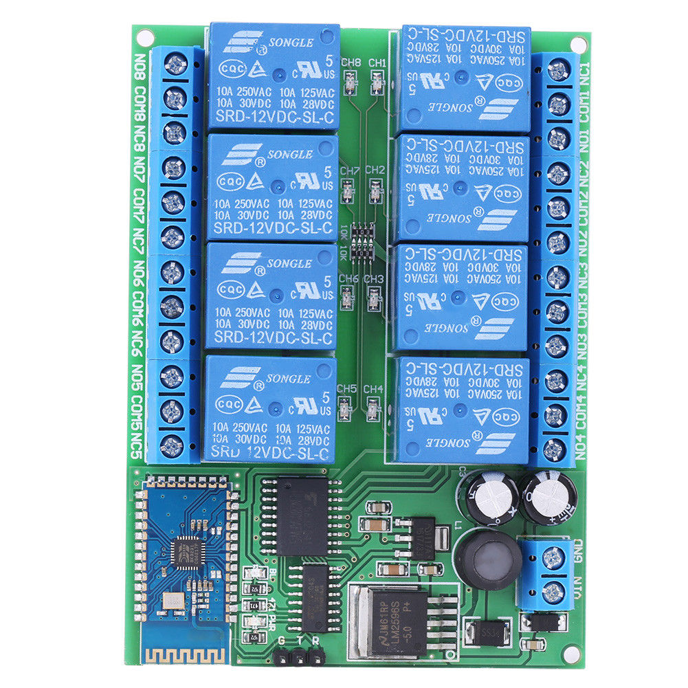DC 12V 8-Channel Bluetooth Relay Module Remote Control Switch for ...