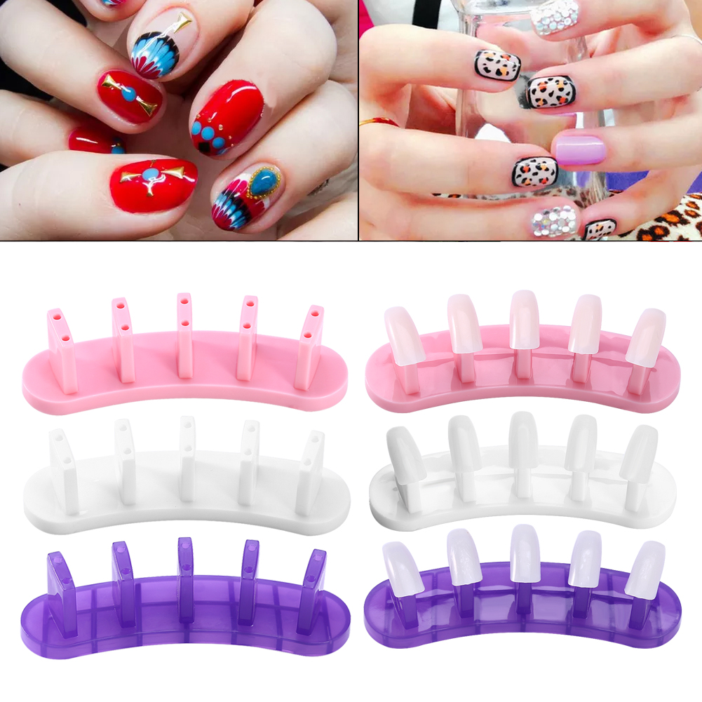 100 PCS Nail Art Removable Practice Tips Training Display Stand ...