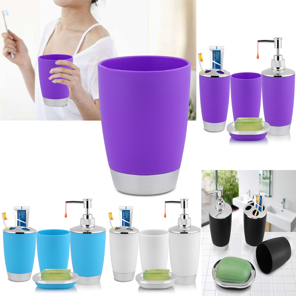 4x Bathroom Accessories Set Cup Toothbrush Holder Soap Dish Dispenser Bottle Gl