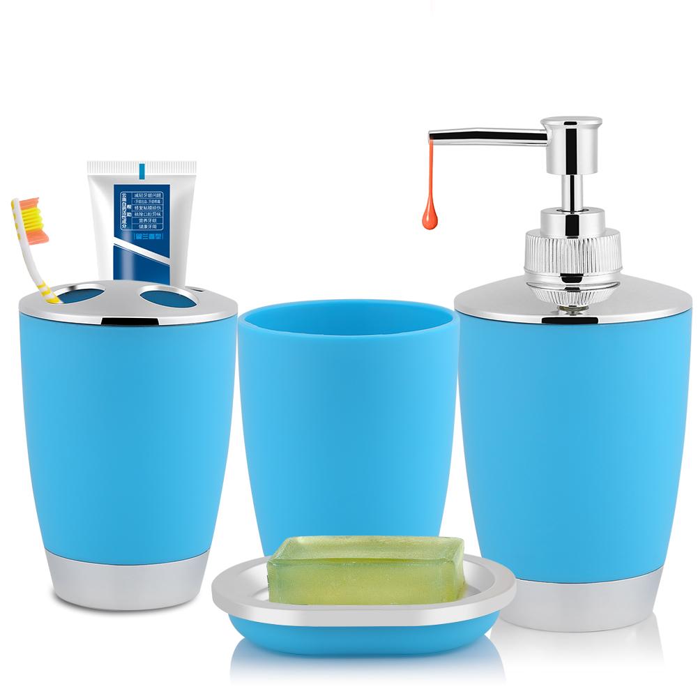 4x Bathroom Accessories Set Cup Toothbrush Holder Soap Dish Dispenser Bottle Gl