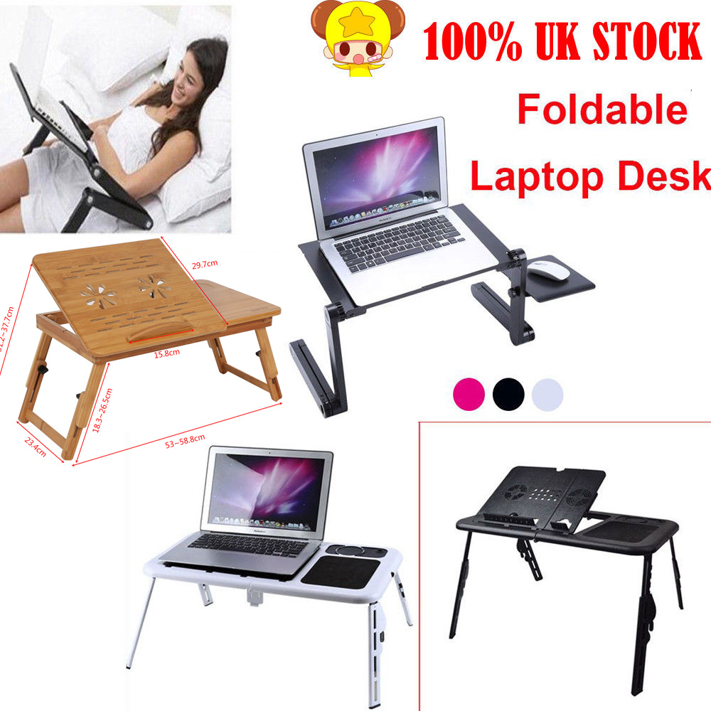 Laptop Bed Tray Table Notebook Computer Holder Tilts Stand