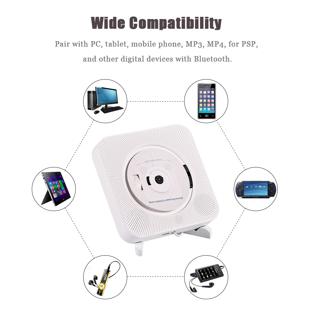 Portable Bluetooth Wall Mounted Cd Player Stereo Mp3 Am Fm
