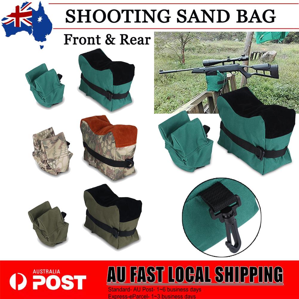 Shooting Range Bench Rest Sand Bag Set Range Gear Front /& Rear Bag Hunting