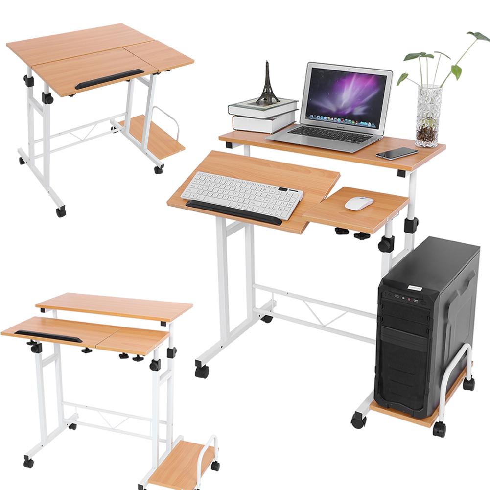 computertisch schreibtisch b ro pc tisch laptop h henverstellbar 65 95cm holz de 736691650988 ebay. Black Bedroom Furniture Sets. Home Design Ideas