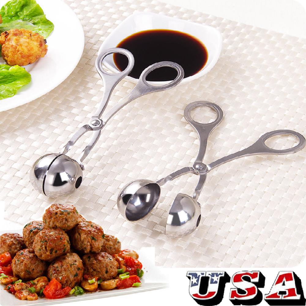 Meatball Scoop Tongs Maker Tool DIY Fish Meat Rice Stainless Steel Stuffed Clip