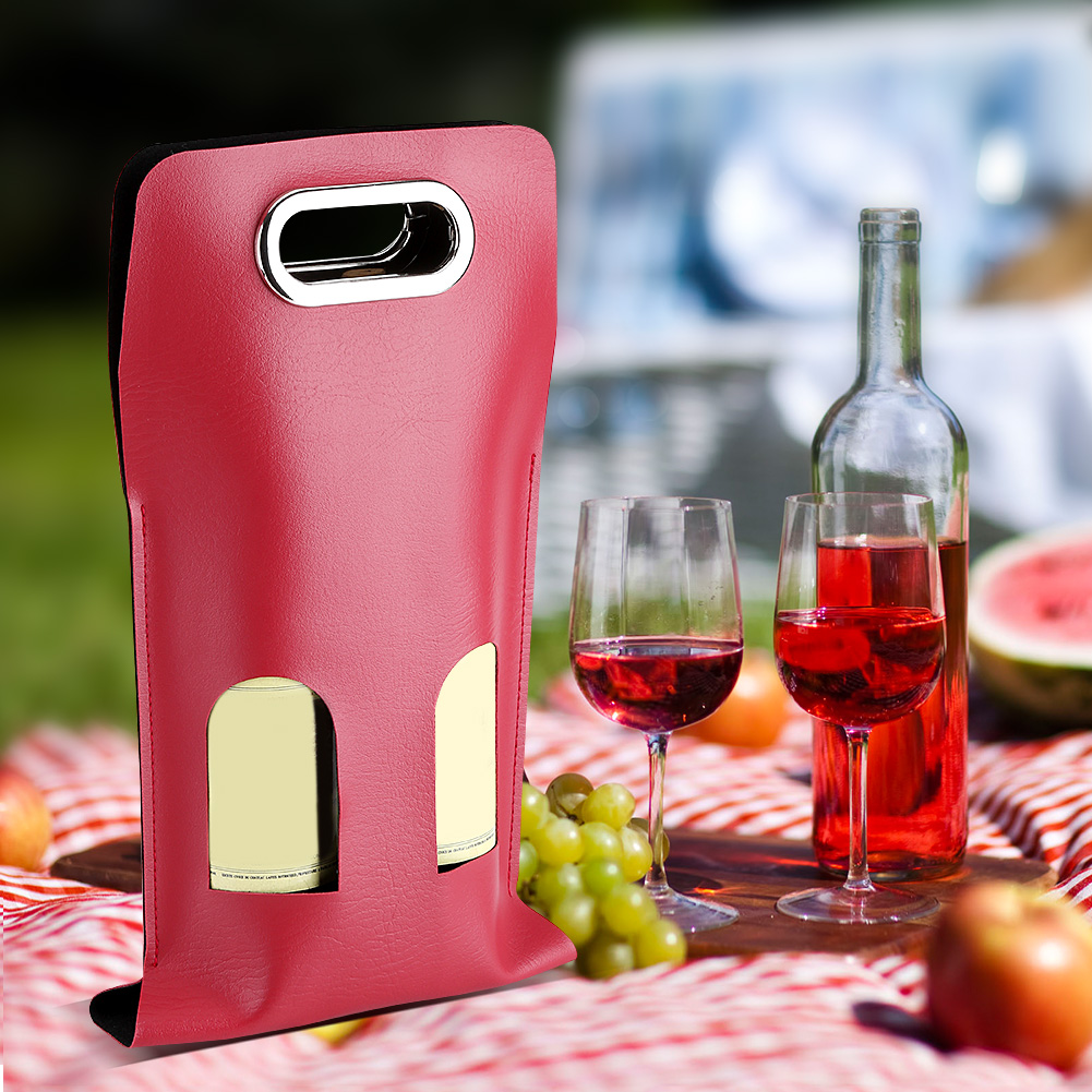 Single/Double Pocket Soft PU Leather Wine Bottle Carry Tote Bag ...