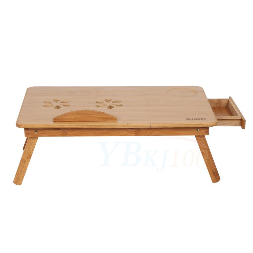 Folding Bamboo Laptop Table Desk Notebook Book Reading Bed