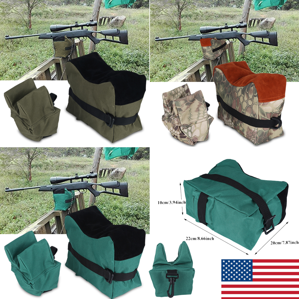Front /& Rear Rifle Gun Bench Front Rear Rest Sand Bag Hunting Target Shooting