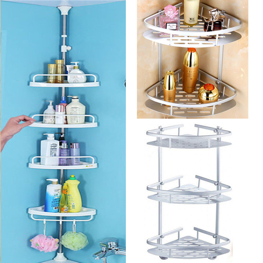 2/3/4 Tier Adjustable Telescopic Bath Corner Shelf Organiser Caddy ...