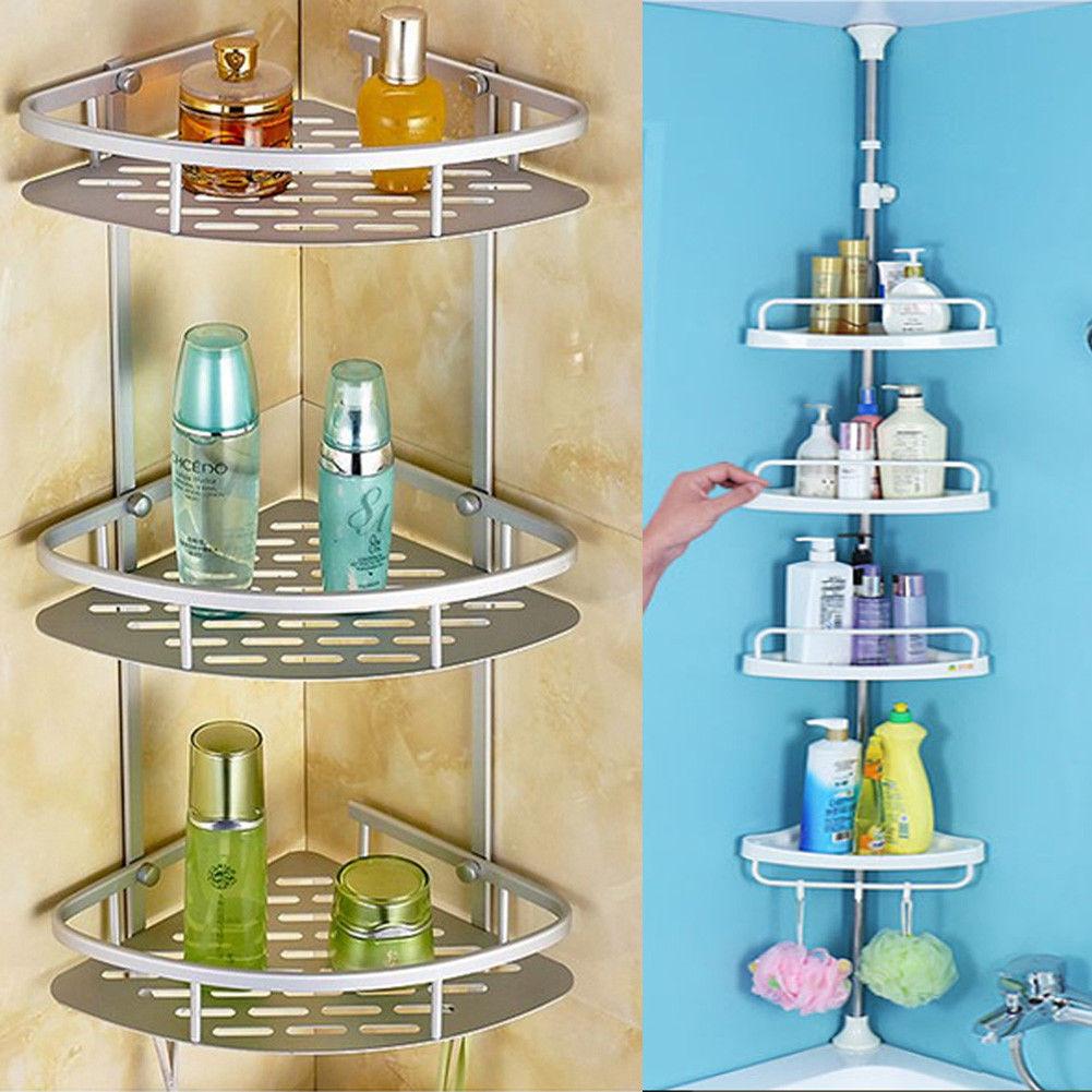 2/3/4 Tier Adjustable Telescopic Bath Corner Shelf Organiser Caddy ...