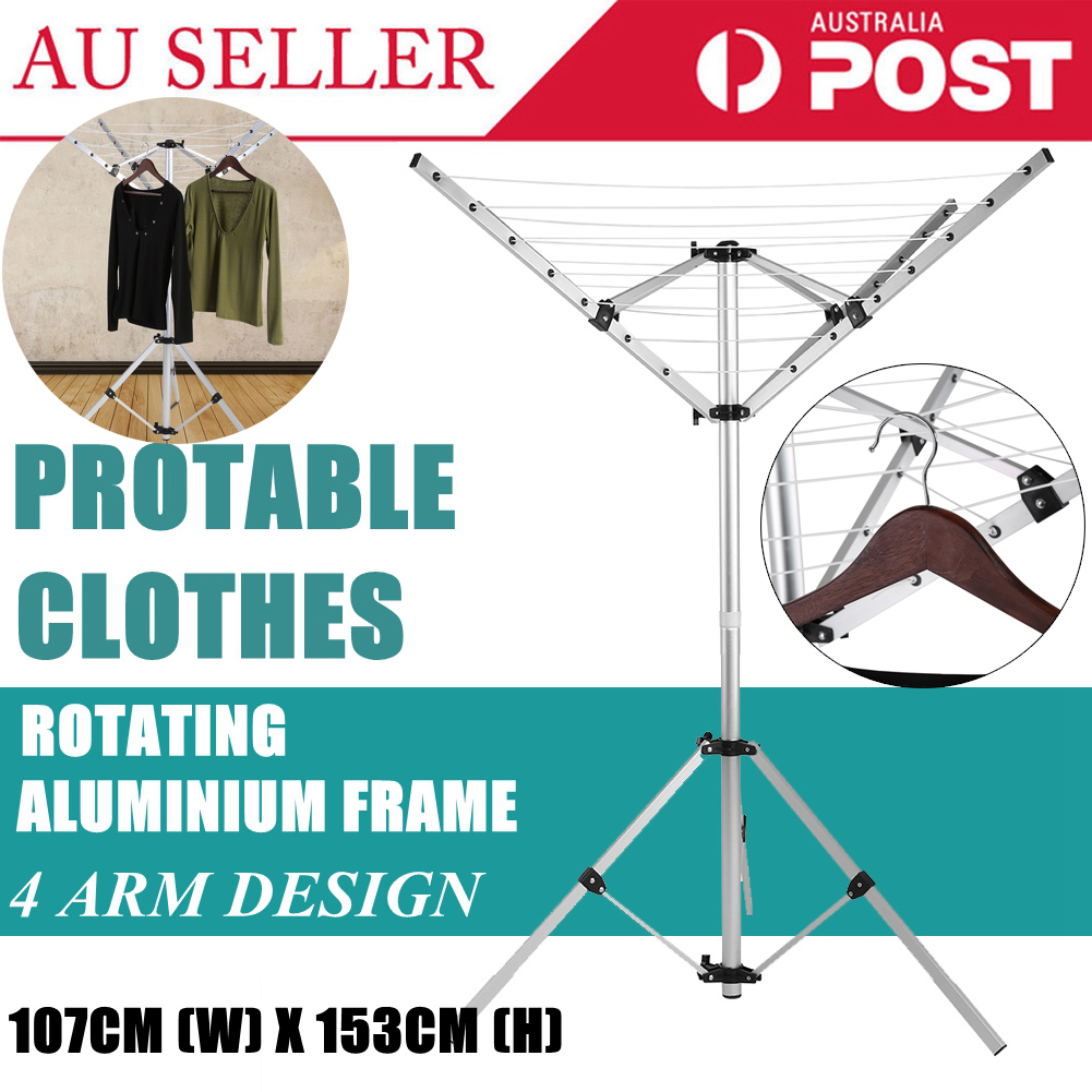 Clothes Rotary Clothesline 4 Arm Hanger Camping Laundry Dryer Natural Air
