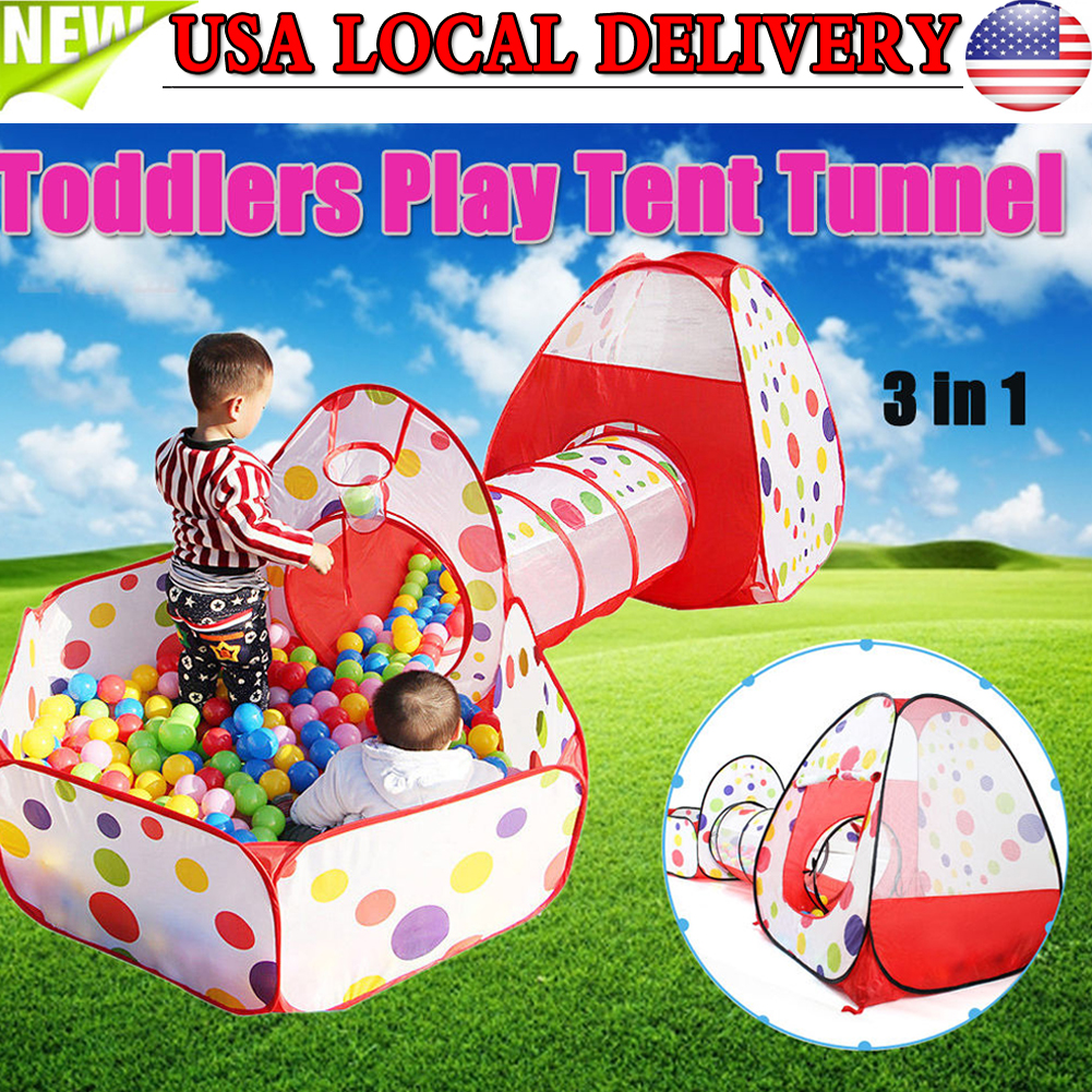 purchase cheap a92dd bc5f3 Details about Portable Kids Indoor Outdoor Play Tent Crawl Tunnel Set 3 in  1 Ball Pit Toy US