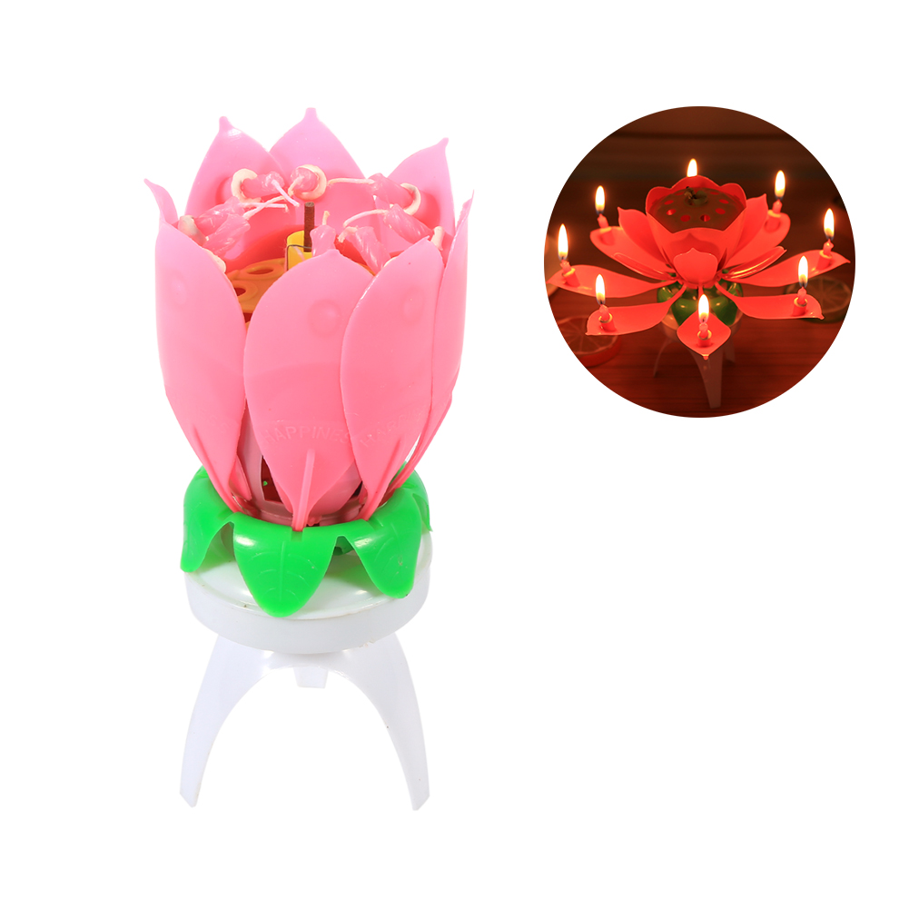 Amazing Romantic Musical Lotus Flower Birthday Candle Spining