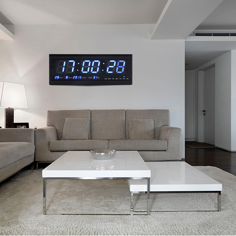 led wanduhr digitaluhr uhr mit datum temperatur wohnzimmer k chuhr in blau gd ebay. Black Bedroom Furniture Sets. Home Design Ideas