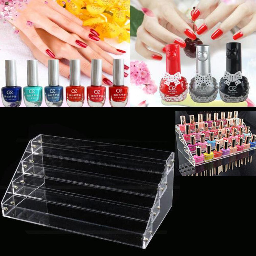 Nail Art Polish Display Clear Acrylic Cosmetic Organizer Makeup