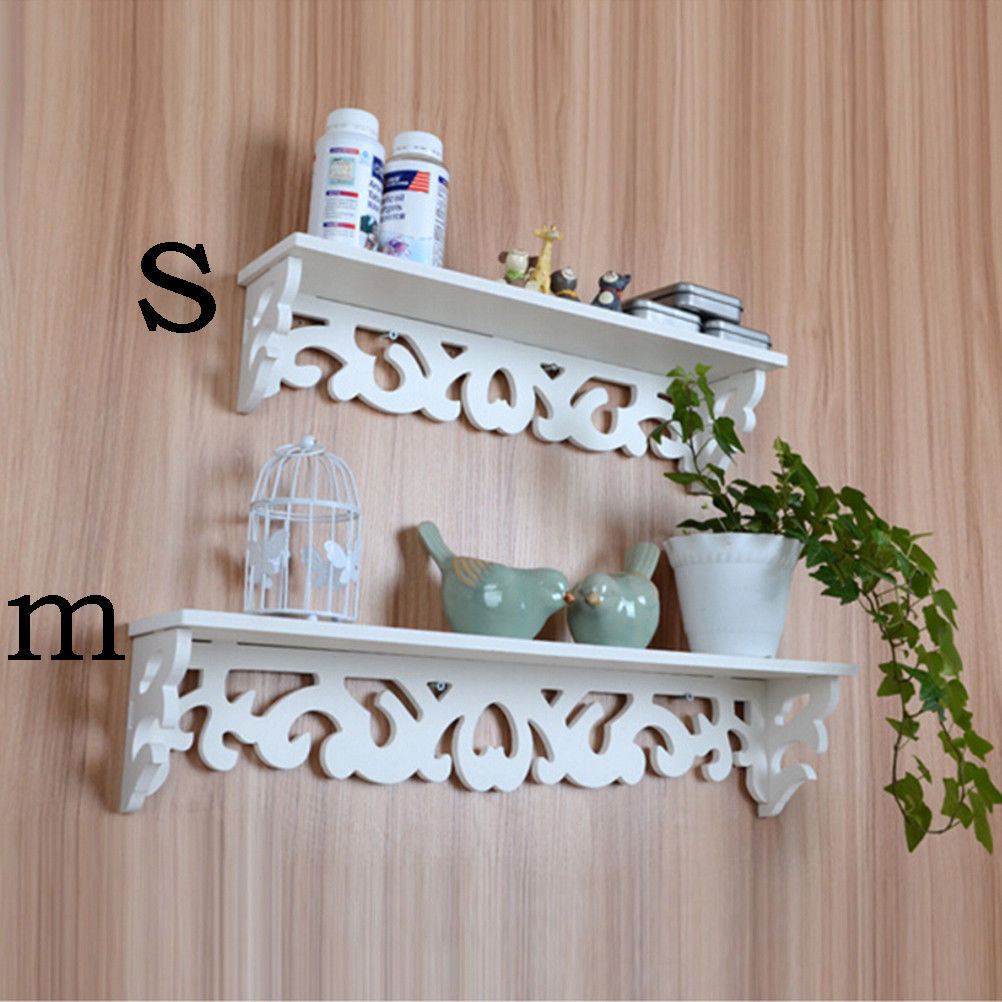 white wood home decorative wall shelf set display floating shelves wood storage ebay. Black Bedroom Furniture Sets. Home Design Ideas