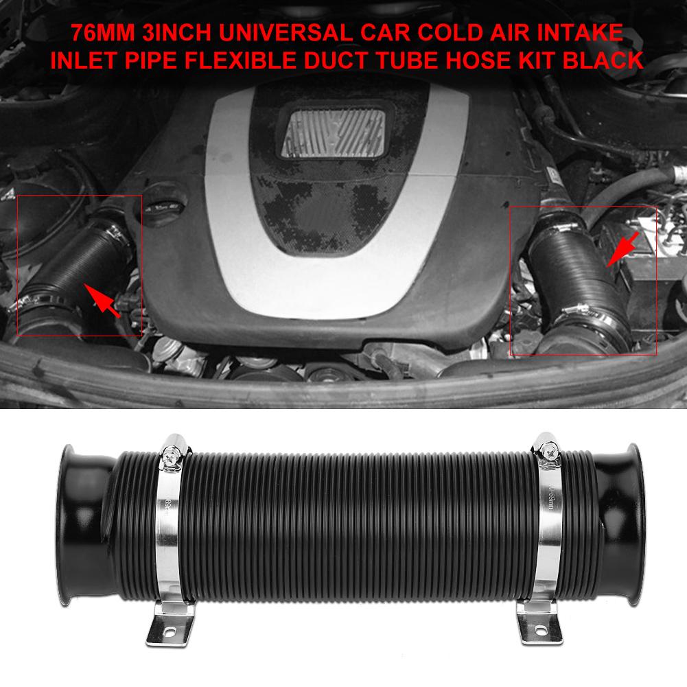 """Yves 76mm 3 /""""Universal-Kaltluft-Einlass Duct Luftansaugschlauch Kalt Flexible Rohr Set aus Kunststoff PVC-Schlauch Ducting Autotechnik"""