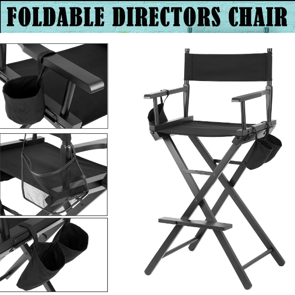 Details about Professional Makeup Artist Directors Chair Wood Light Weight Foldable Black New