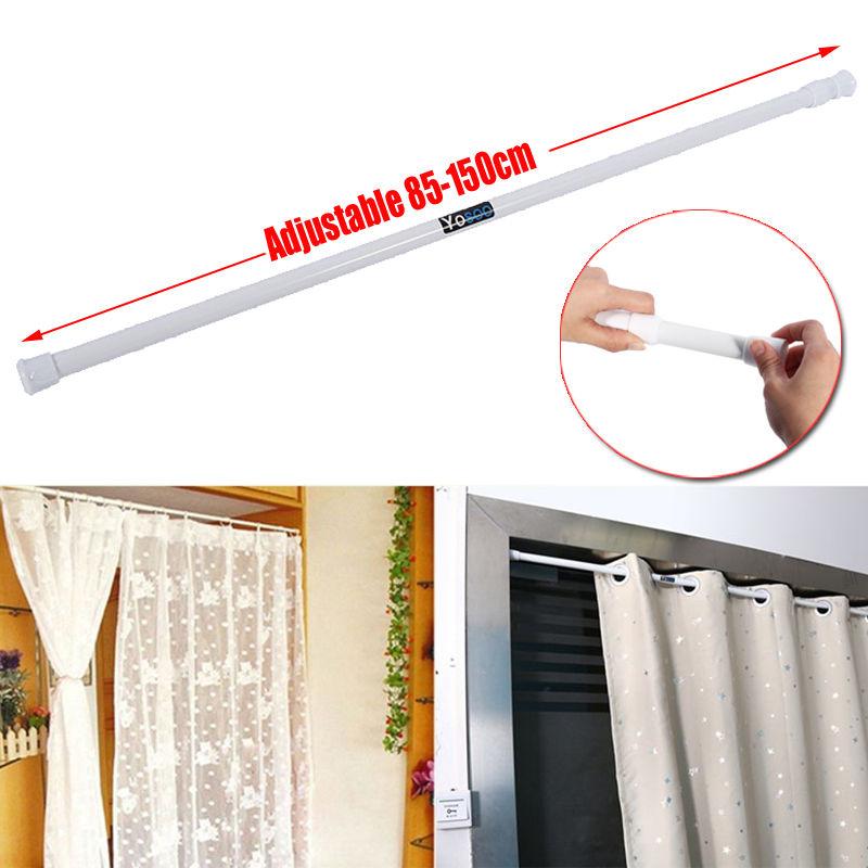 Quick Fit Curtain Rod Pole Rail Finial Extendable 55 90cm