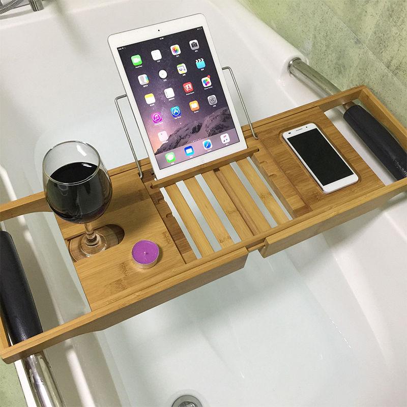 Adjustable 100% Brand New Wooden Bamboo Bathtub Rack Tub Tray Stand ...