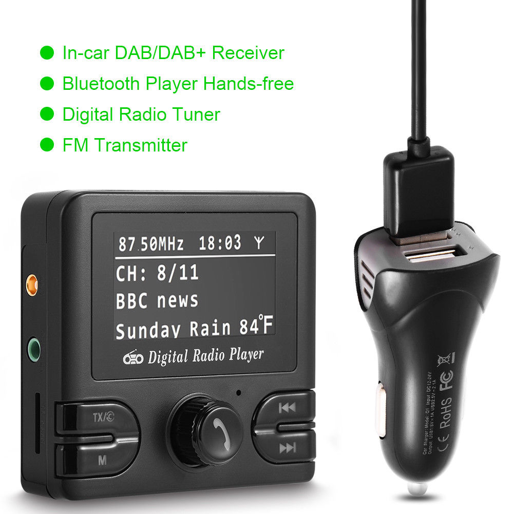 2 4 lcd car dab receiver tuner fm transmitter adapter. Black Bedroom Furniture Sets. Home Design Ideas