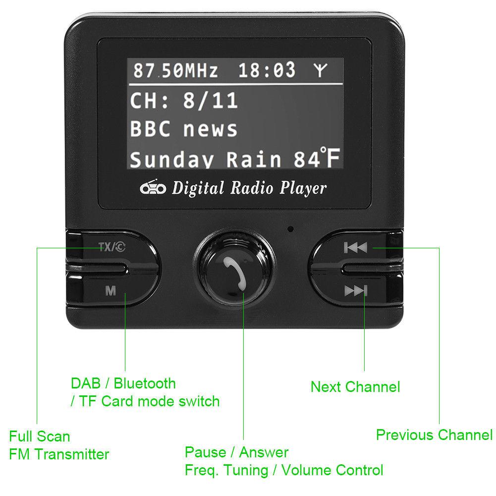 2 4 lcd car dab receiver tuner fm transmitter adapter. Black Bedroom Furniture Sets. Home Design Ideas