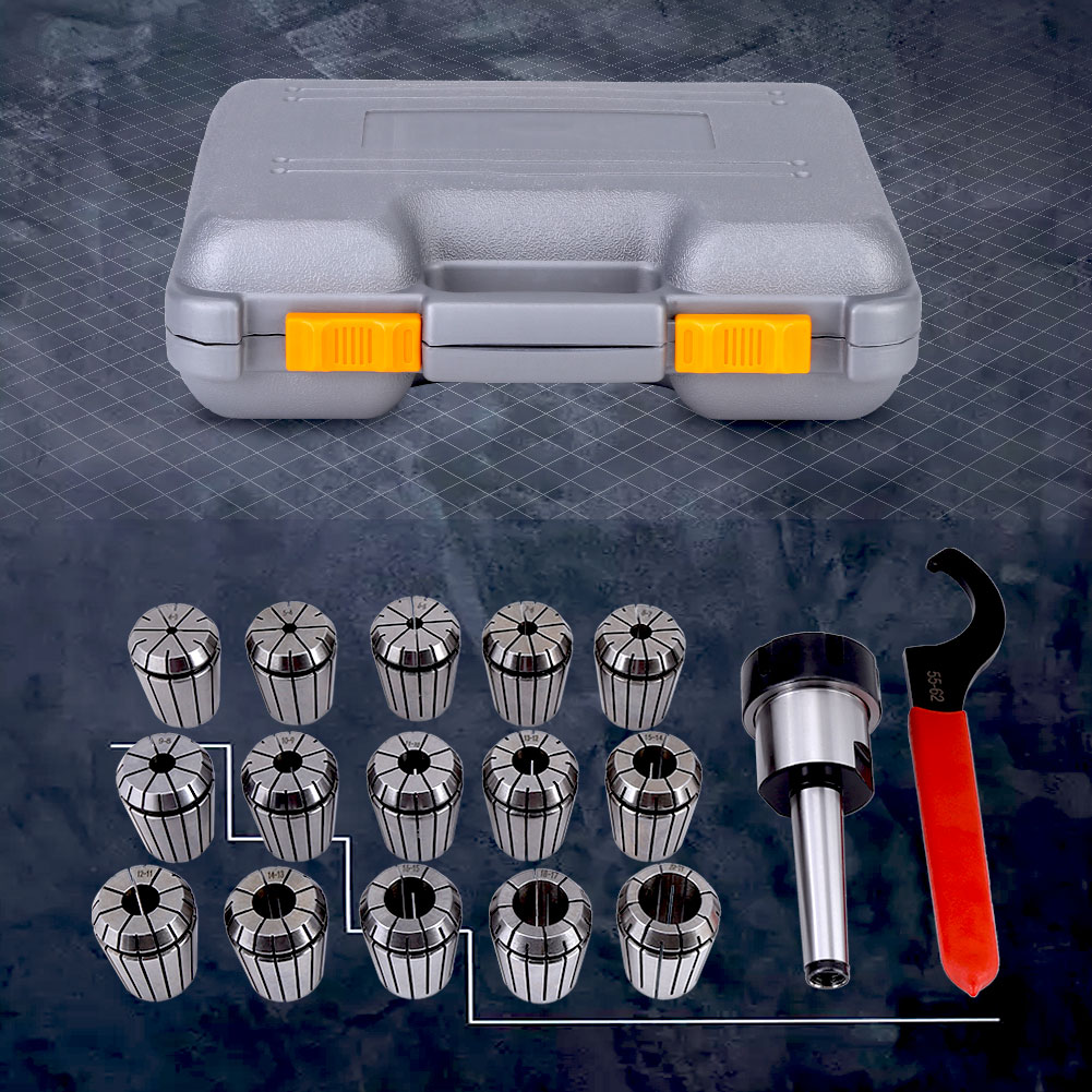 Spring Steel Collet Chuck Tool for Milling Machine with Box MT2 Shank Holder Rod+ Wrench+ ER32 Collets ER32 Collet Chuck Holder